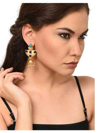 Designer Black Onyx Malachite Brass Party Wear Earrings