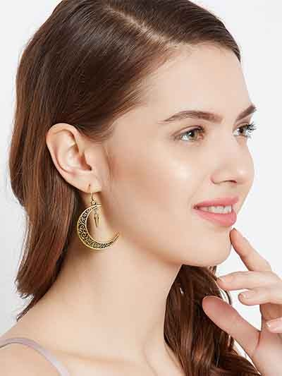 Golden Crescent Earrings