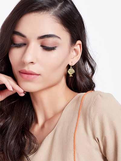Short Golden Vintage Tree Earrings