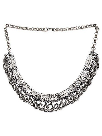 Boho Look Tribal Jewellery Silver Fashion Necklace