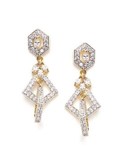 American Diamond Geometrical Dangle Earrings