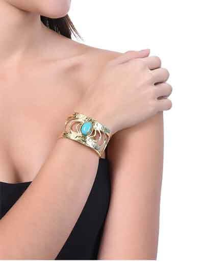 Gold Flake Brass Cuff Studded With Turquoise Gemstone