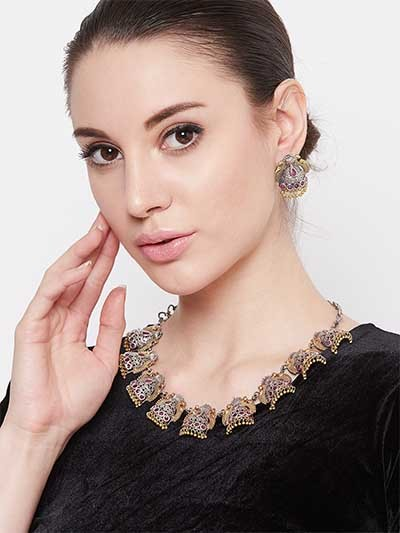 Gold & Silver Toned Textured Dome Shaped Dual Colored Necklace Set