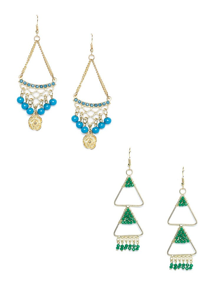 Blue and Green Western Earrings Combo