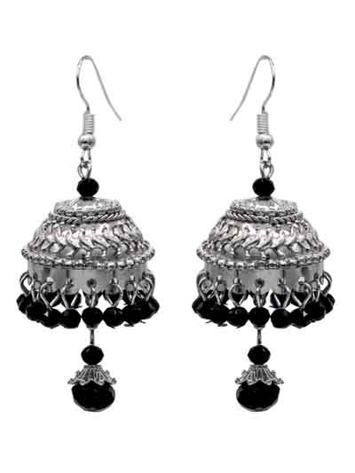 Alloy Metal Dangle and Drop Quintessential Silver Jhumka Earrings for Women and Girls