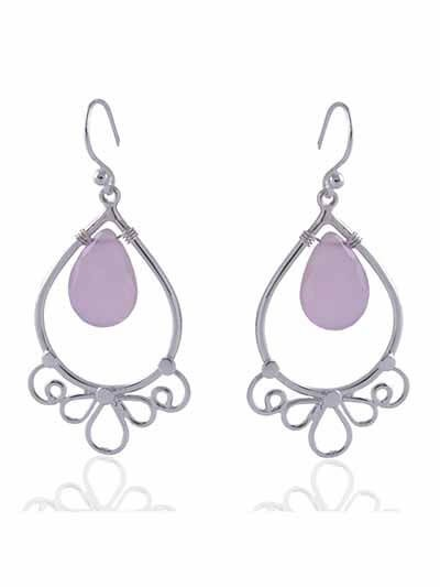 Inverted Crown Oval Pink Danglers
