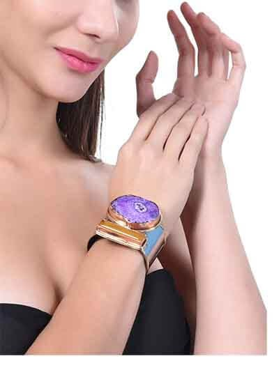 Raw Crystal Purple Solar Quartz Semi Precious Handmade Jewellery Cuff Bracelet