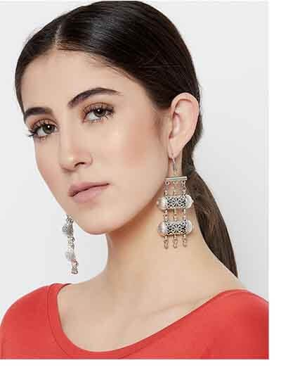 Layered Tribal Jewellery Danglers With Metallic Bells