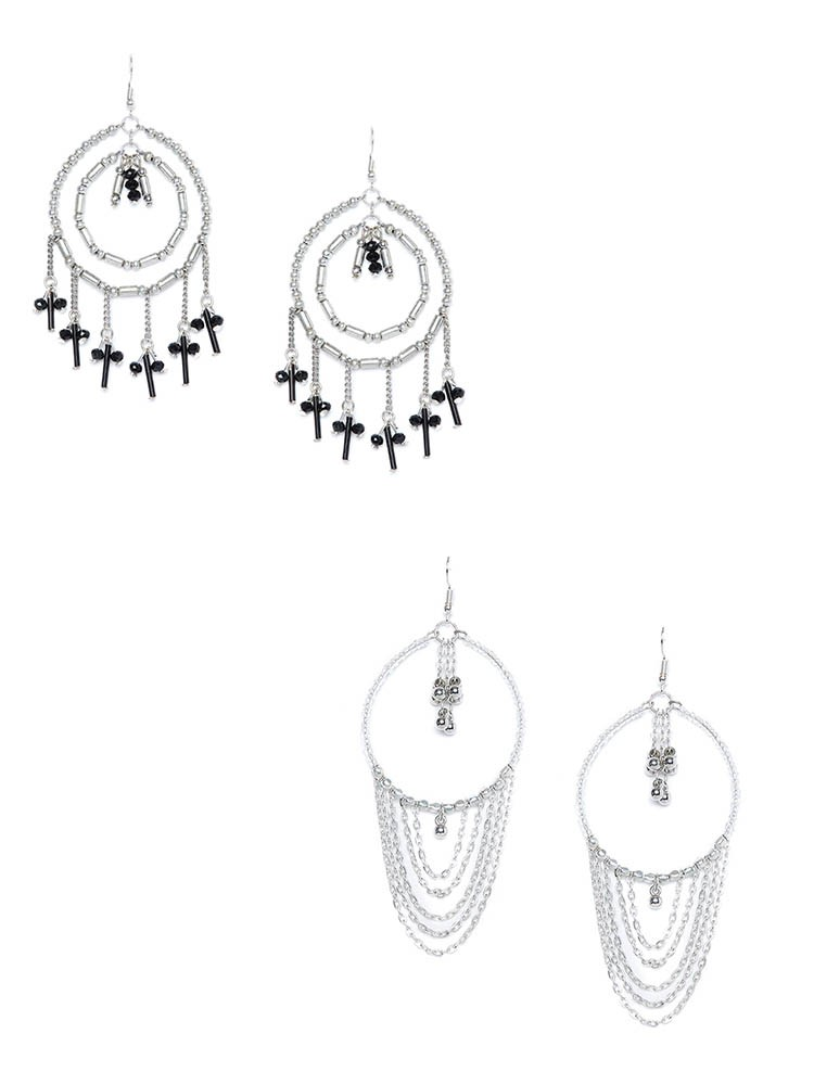Black and Silver Beaded Western Earrings Combo