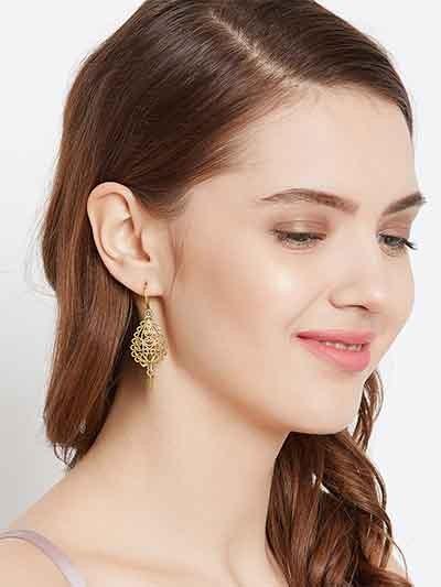 Short Golden Drop Earrings