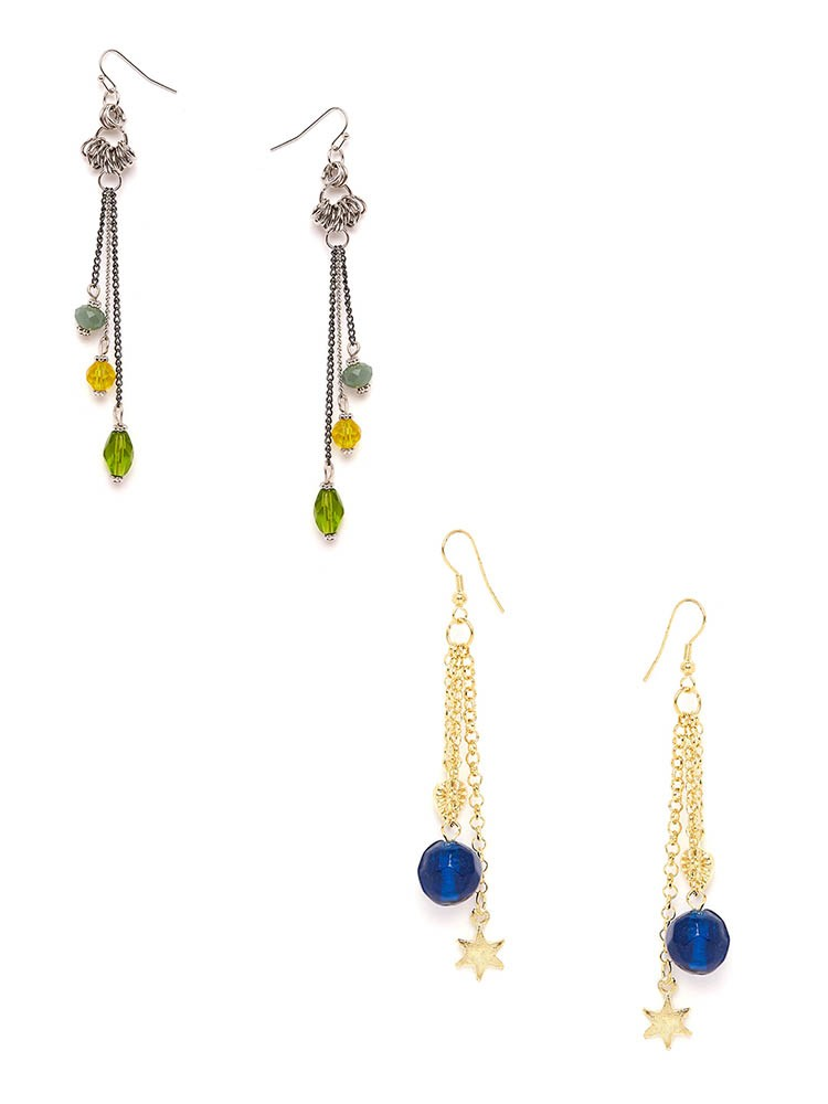 Blue Chain and Multicolored Chain Western Earrings Combo