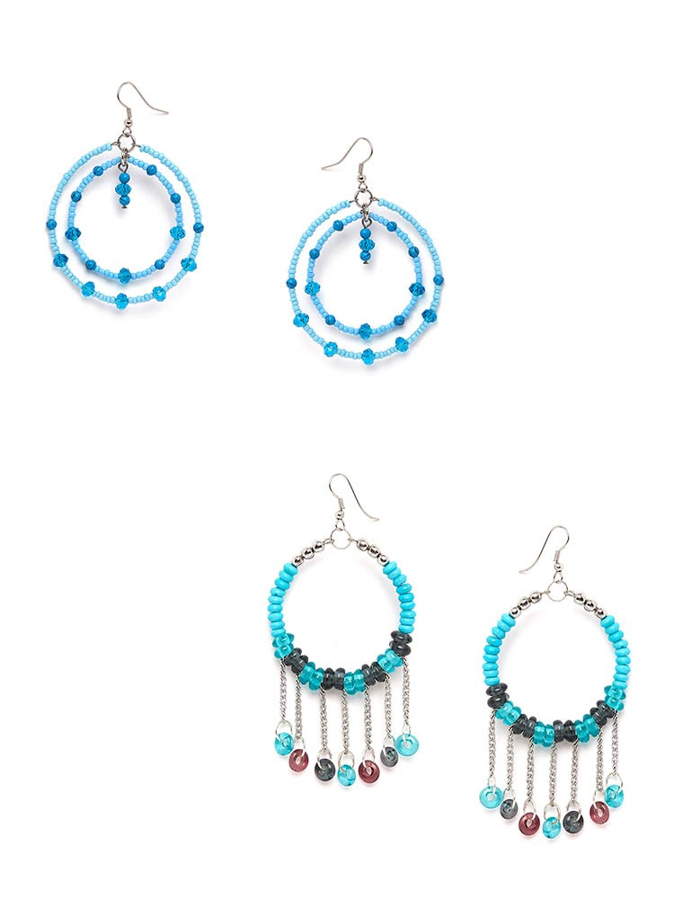 Blue Beaded Western Earrings Combo