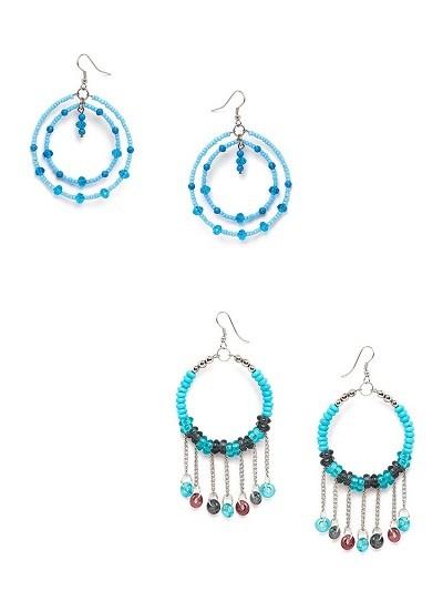 Blue Beaded Western Earrings Combo
