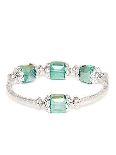 Crystal Green and Silver Artificial Bracelet