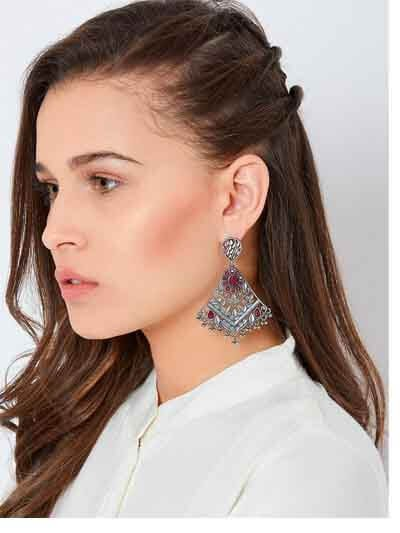 Silver Plated Brass Earrings With Floral Motifs