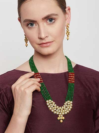 Gold-Plated Green Kundan Jewellery Set