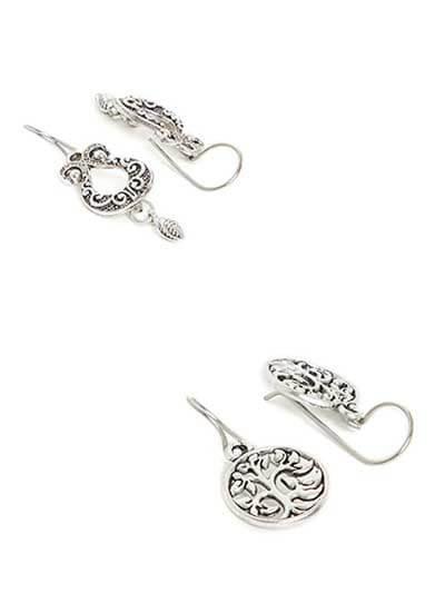 Combo of Two Short Silver Earrings