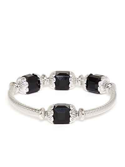 Black and Silver Artificial Bracelet