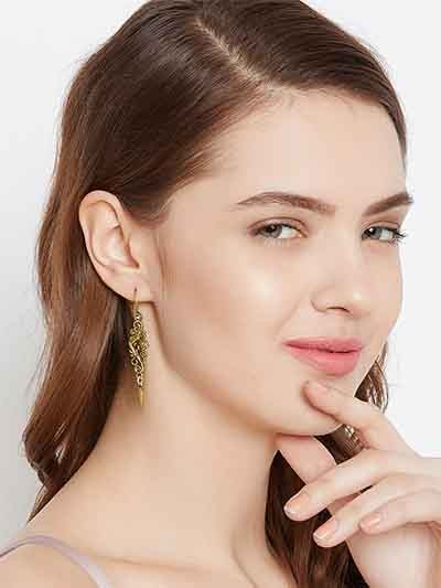 Designer Golden Dangler Earrings