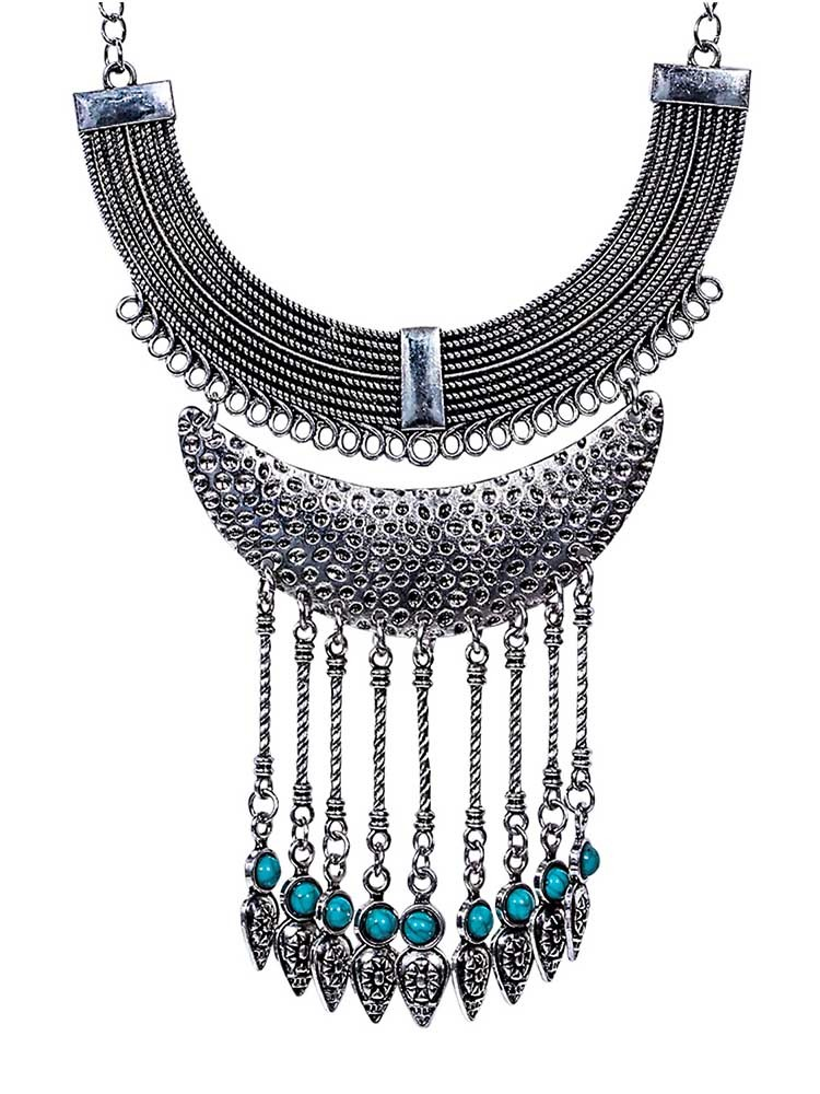 Silver Multi Layer Collar Tassel Necklace
