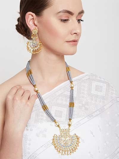 Golden & Grey Gold-Plated Kundan Jewellery Set