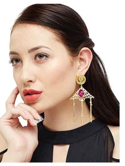 Vintage Ville Fuchsia Hanging Brass Designer Party Wear Earrings