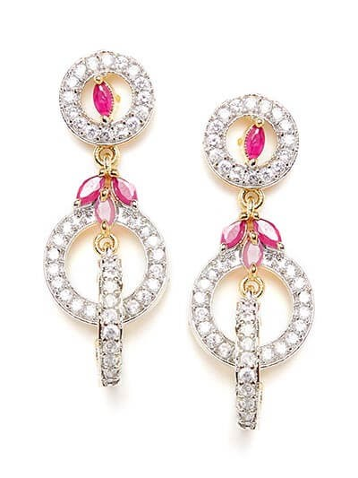 American Diamond Loops Earrings with Red Stones