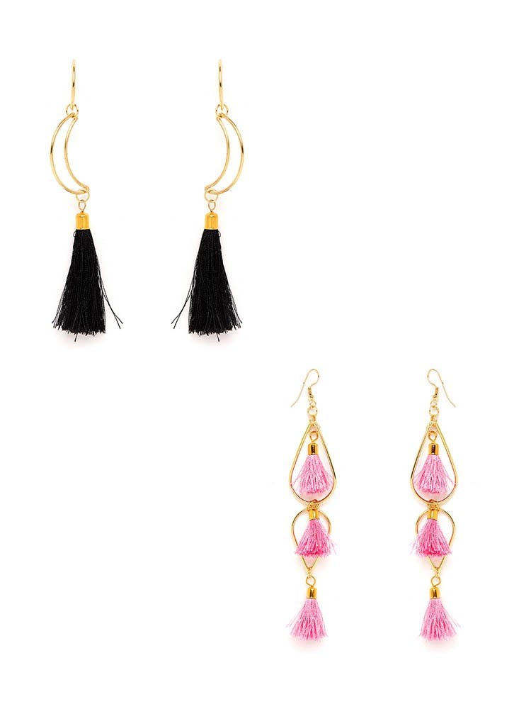 Black and Pink Tassel Western Earrings Combo