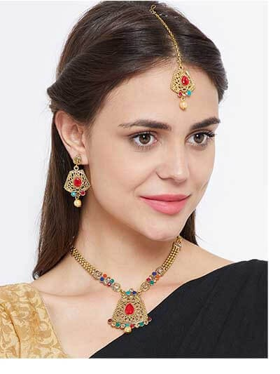 Multicolored Stone Embellished Golden Ethnic Necklace Jewellery Set for Wedding