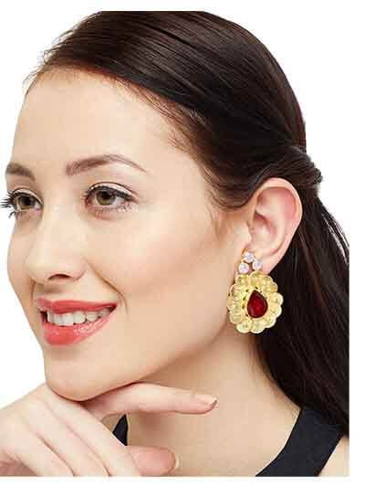 Troublemaker Siam with Hazel Opal Handcrafted Designer Baroque brass based Party Wear Earrings