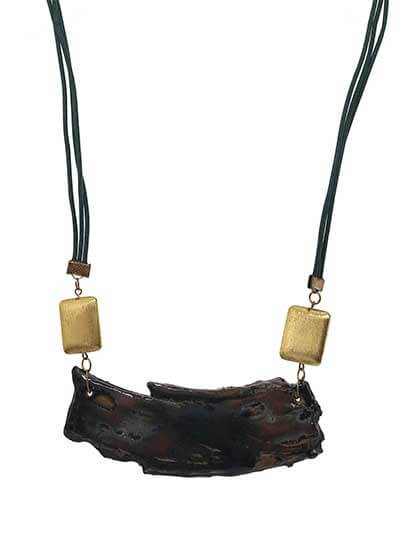 Coffee Carve Brass Long Statement Necklace