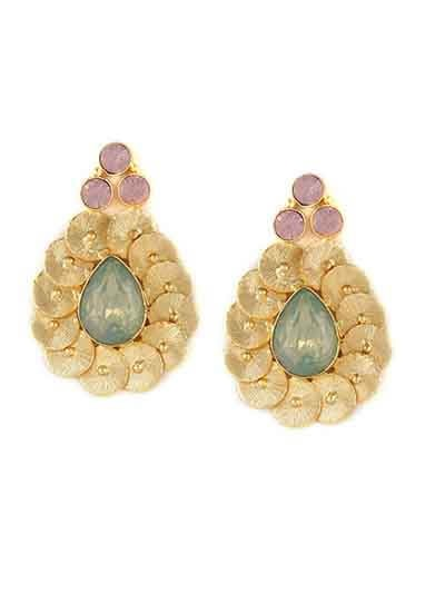 Dainty Dew Brass Lake Blue Opal Baroque Elegant Designer Party Wear Earrings