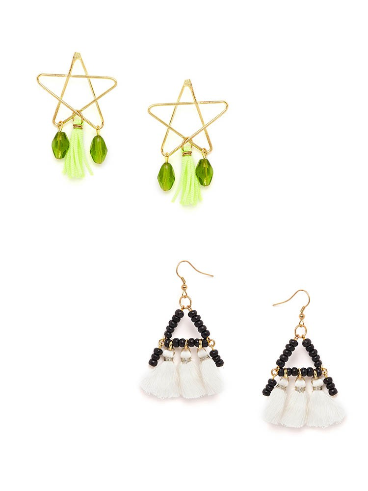 Green and White Tassel Western Earrings Combo