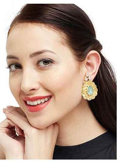 Dainty Dew Brass Lake Blue Opal Baroque Elegant Designer Party Wear Earrings