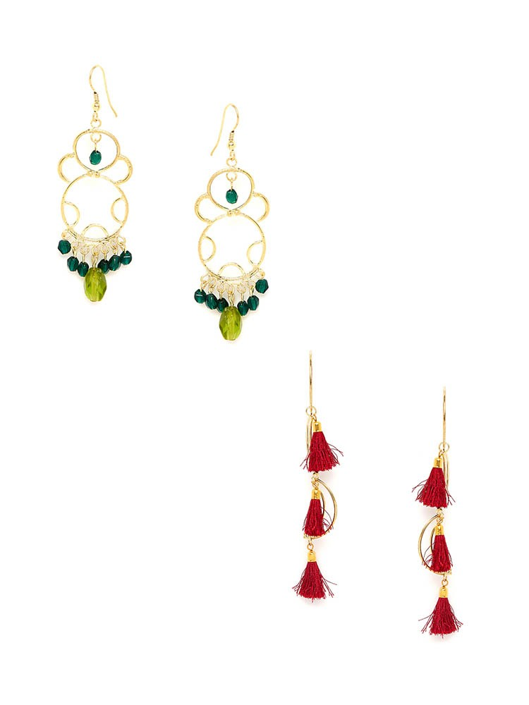 Green Western Earrings and Red Tassel Western Earrings Combo