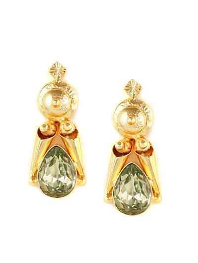 Le Slick Peridot Brass Charming Designer Party Wear Earrings