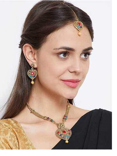 Metal Heart Multicolored Stone Embellished Ethnic Golden Necklace Jewellery Set for Wedding