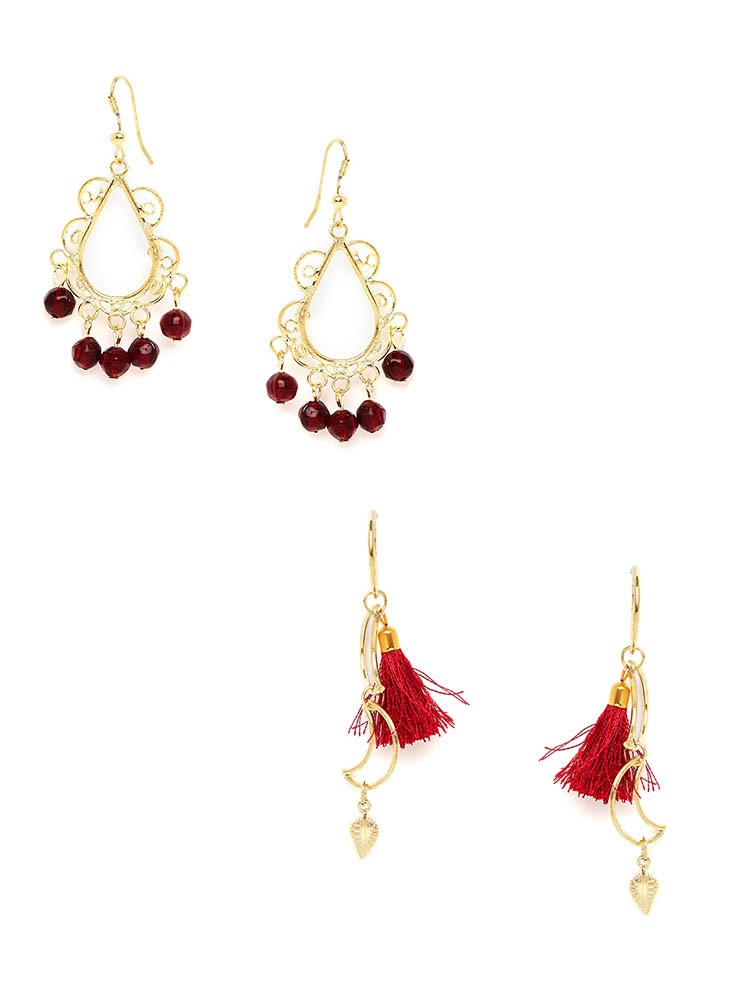 Maroon Western Earrings and Red Tassel Western Earrings Combo