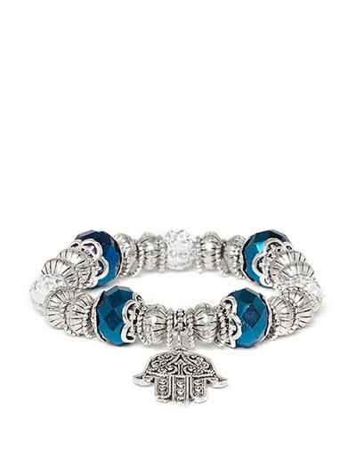 Blue and Silver Hands of Allah Artificial Charm Bracelet