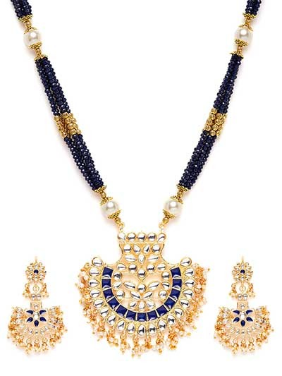 White & Blue Gold-Plated Kundan Jewellery Set