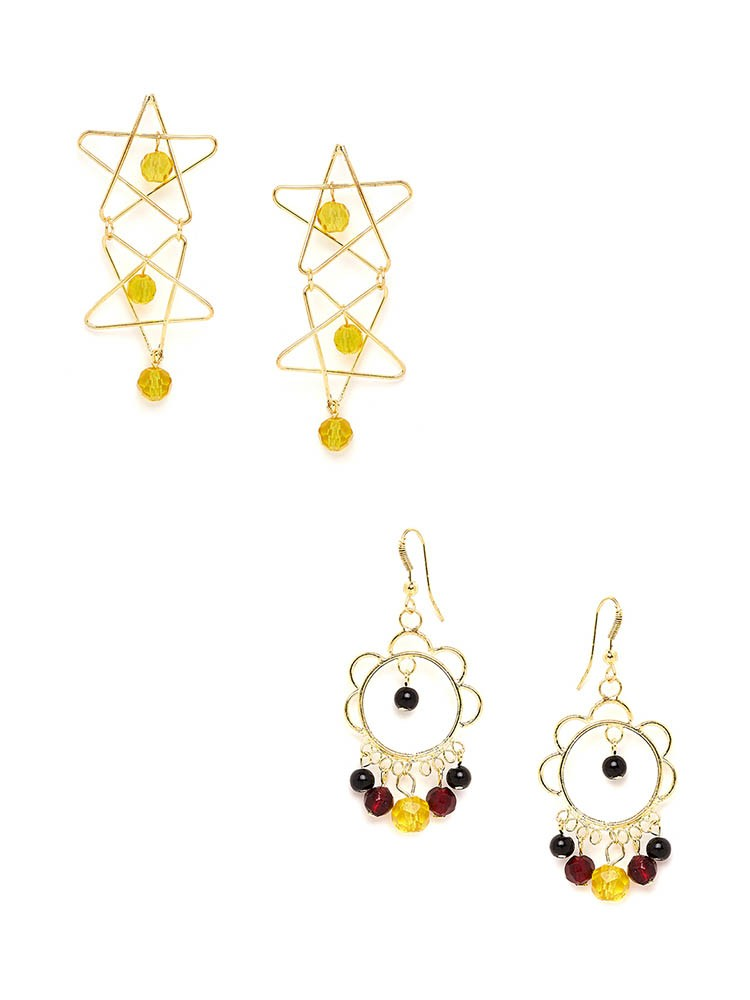 Combo of Western Earrings With Yellow Beads and Multicolored Beads