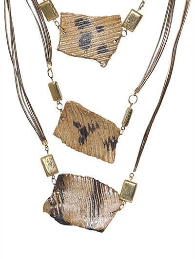 Luxe Gold Subtle Stone Brass Layer Statement Necklace