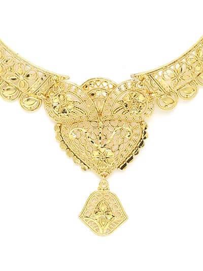 Golden Heart Necklace Set with Floral Motifs