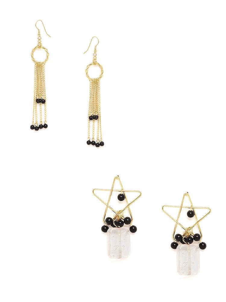 Golden Chains and Golden Stars Western Earrings Combo