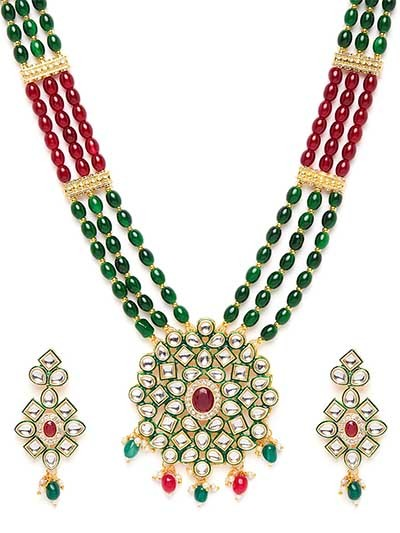 Green & Red Gold-Plated Kundan Jewellery Set