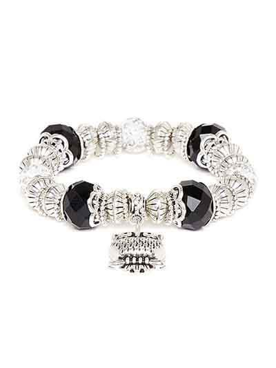 Black and Silver Owl Charm Bracelet