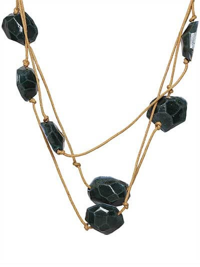 Teal Stone Brass Long Layer Statement Necklace