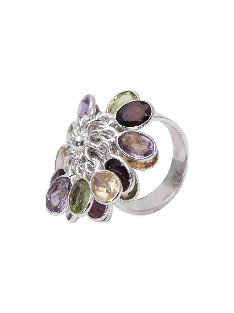 Sterling silver overlapping petals ring