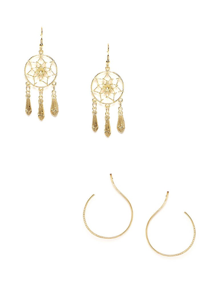 Golden dream-catcher Western Earrings and Golden Hoops Combo