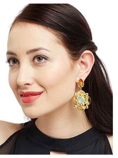 Golden & Brown Designer Brass Dangle Earrings For Women